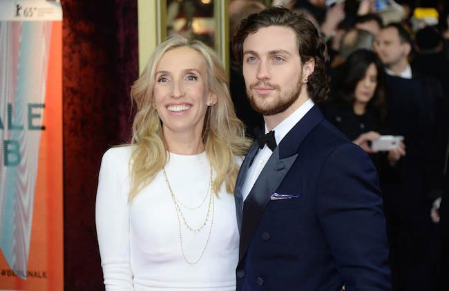 "Aaron Taylor-Johnson with wife Sam Taylor-Johnson at the premiere of ""Fifty Shades of Grey"" in Berlin, Germany in 2015"