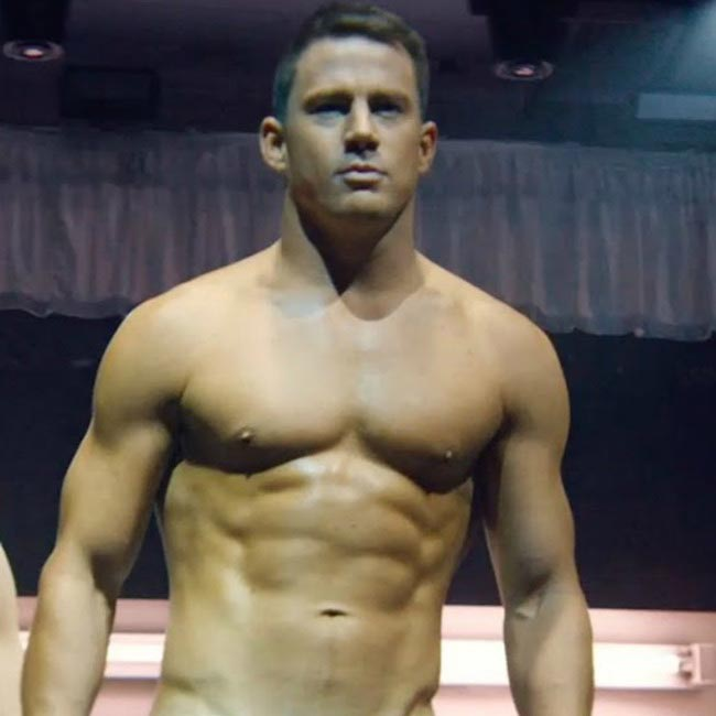 Channing Tatum showing his buffed body for Magic Mike XXL