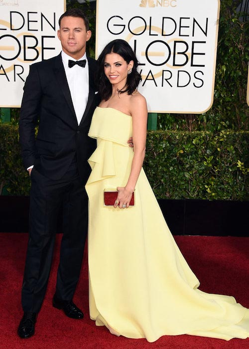 Channing Tatum and Jenna-Dewan Tatum at Golden Globes 2015