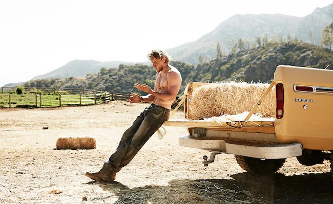 Charlie Hunnam on a ranch