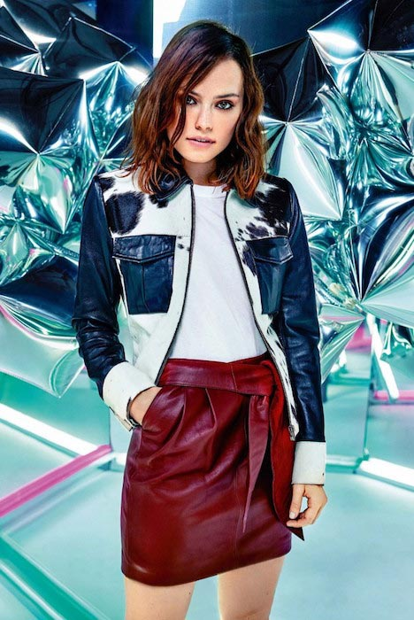 Daisy Ridley posing for ASOS Magazine's December 2015 Issue