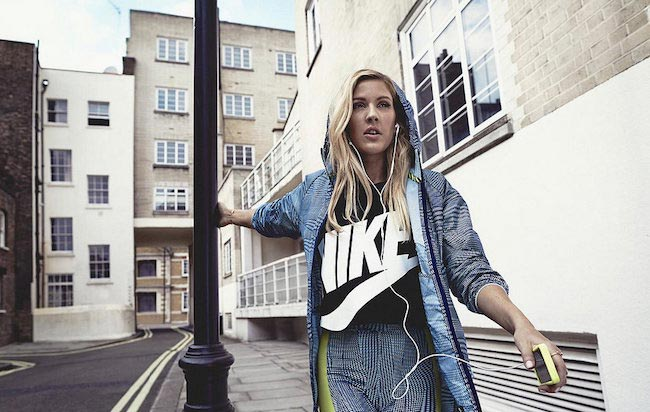 Ellie Goulding listening to music while working out