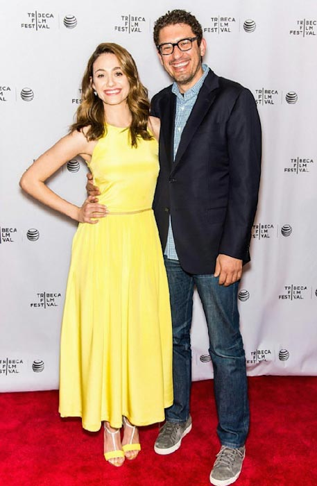 Emmy Rossum with Sam Tribeca on red carpet in April 2015