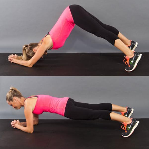 Forearm Plank to downward facing dog