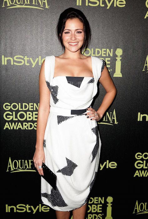 Italia Ricci at HFPA InStyle celebrate 2015 Golden Globe Award Season in West Hollywood