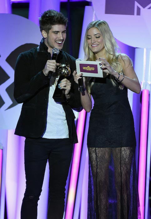 Joey Graceffa (Left) and Justine Ezarik during the MTV Fandom Fest San Diego Comic-Con Awards in July 2015