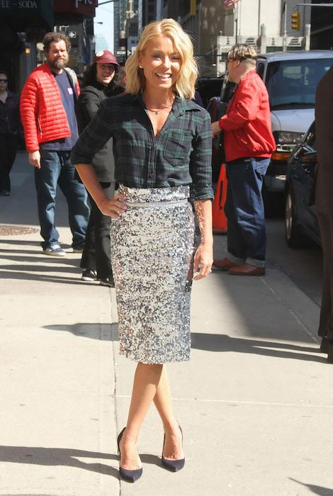 "Kelly Ripa arriving at ""The Late Show With David Letterman"" in 2015"