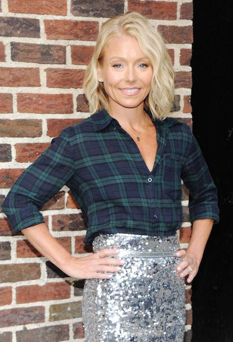 Kelly Ripa at the set of Late Show with David Letterman in April 2015