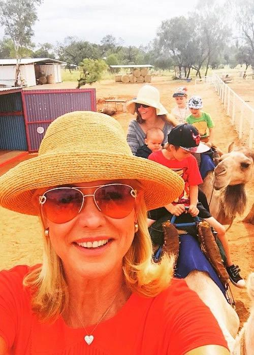 Kerri-Anne Kennerley in a selfie during camel ride in April 2015
