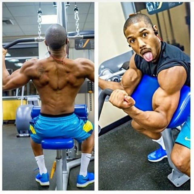 Michael B. Jordan doing back and biceps training