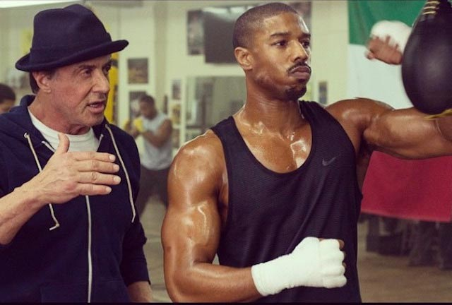 Michael B. Jordan taking boxing tips from Sylvester Stallone