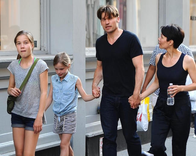 Nikolaj Coster-Waldau with wife Nukaka and 2 daughters