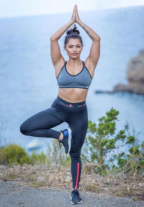 Vanessa White doing yoga