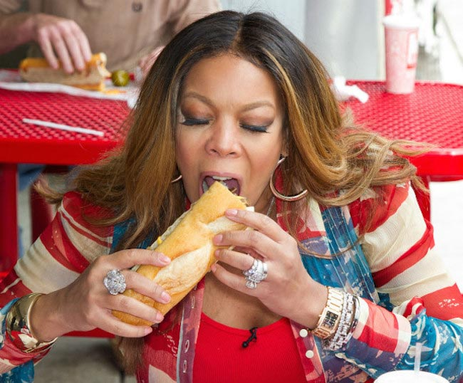 Wendy Williams enjoying some fast food in the past. We don't think she is having such foods now