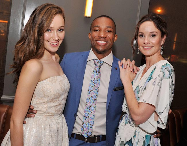 "Alycia Debnam-Carey, Arlen Escarpeta, and Sarah Wayne at the ""Into The Storm"" premiere after party in NYC"