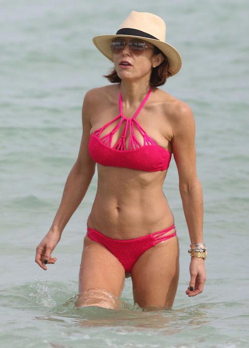 Bethenny Frankel in a red bikini at a beach in Miami on December 27, 2015