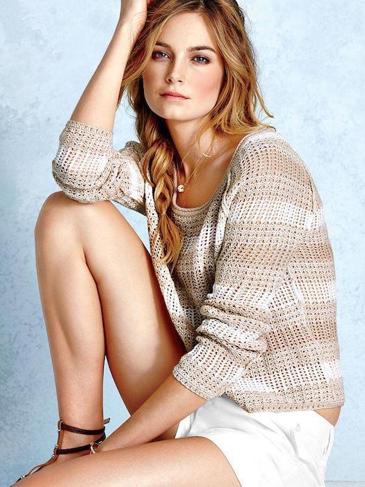 Bridget Malcolm posing for Victoria's Secret's April 2014 Catalog