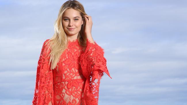 Bridget Malcolm modeling in the David Jones dress