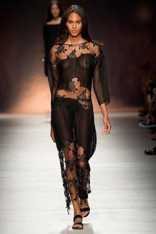 Cindy Bruna walking wearing Blumarine at Milan Spring / Summer 2015 Show