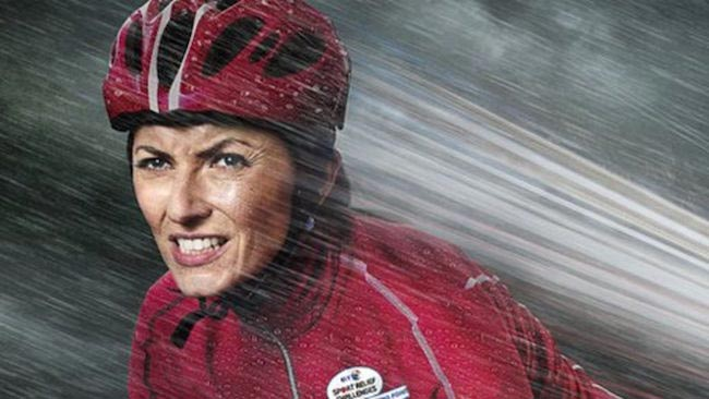 Davina McCall wearing helmet