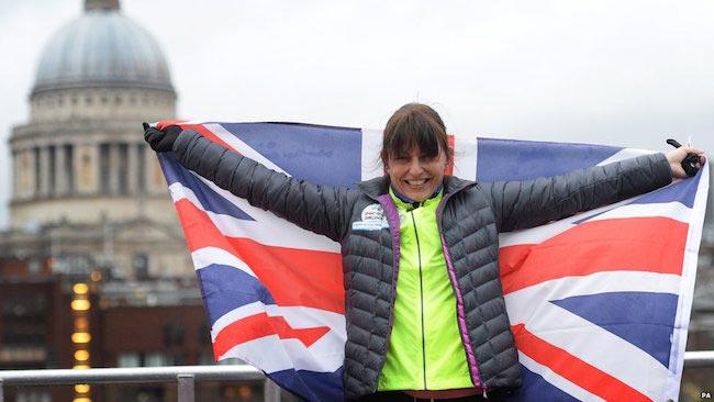 Davina McCall with flag