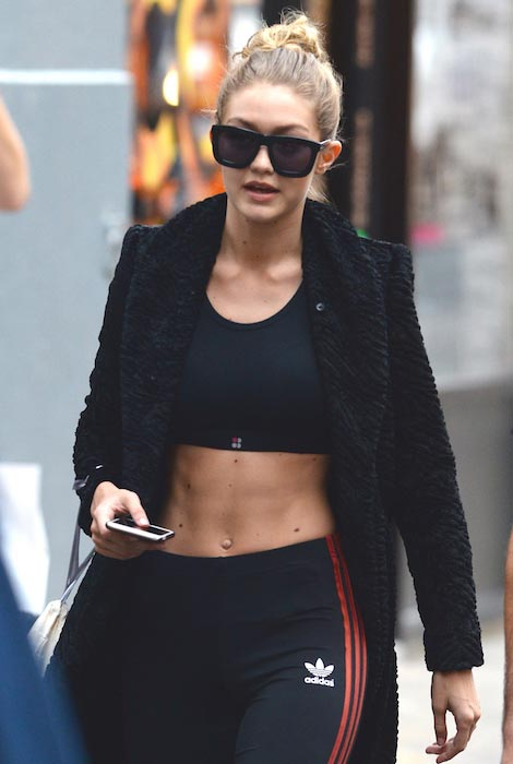 Gigi Hadid after a workout for VS Show 2015