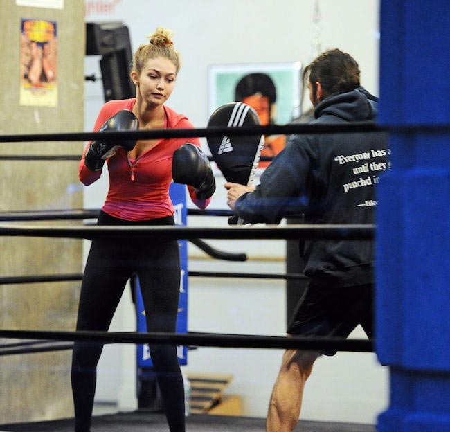 Gigi Hadid at a boxing class in New York City in November 2015