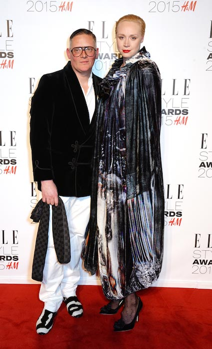 Gwendoline Christie and Giles Deacon at the Elle Style Awards 2015