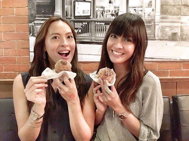 Isabel Roces Trebol and Valerie Delos Santos having cupcakes