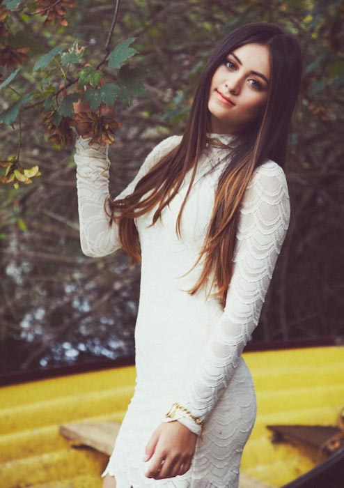 Jasmine Thompson posing for a magazine shoot