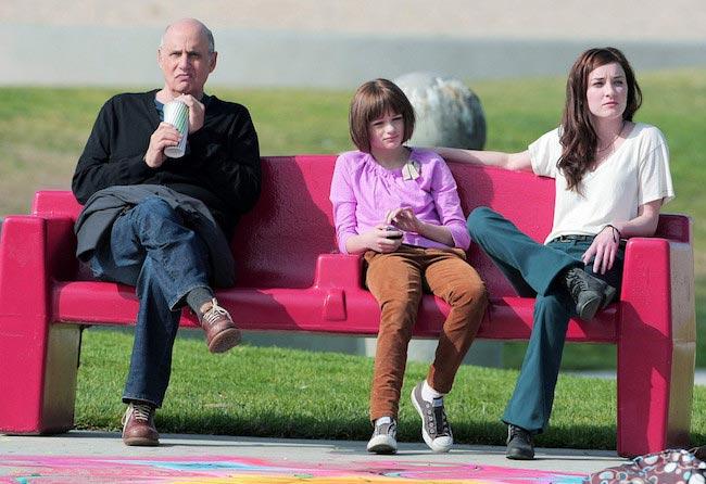 "Jeffrey Tambor, Margo Harshman and Joey King films a scene for TV show ""Bent"""