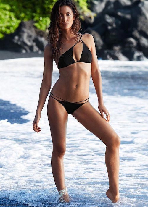 Lily Aldridge shows off her bikini body in Victoria's Secret Swimwear 2015 Collection