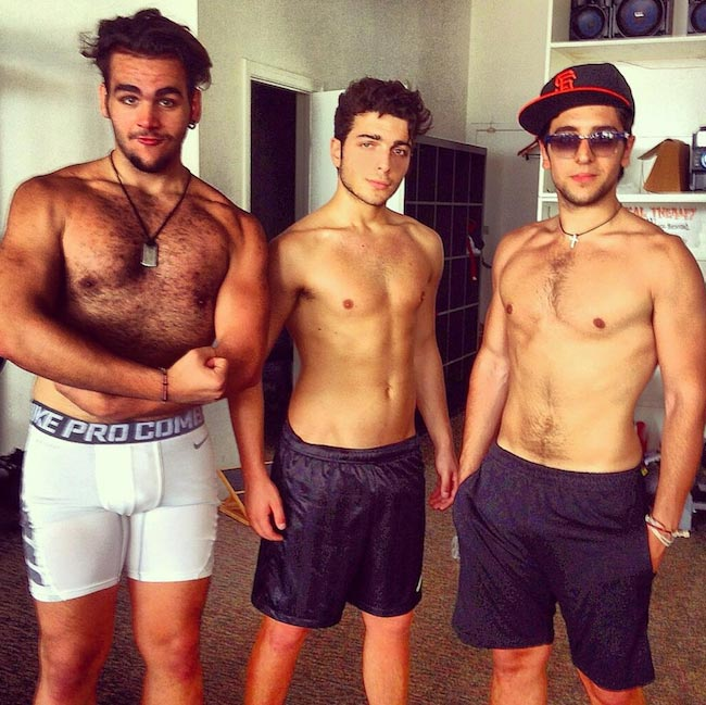 Shirtless Il Volo band members (Extreme Left is Ignazio Boschetto)