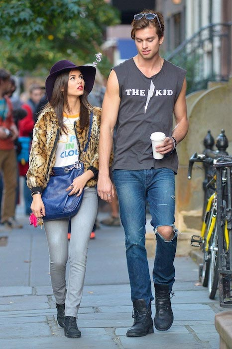 Victoria Justice and Pierson Fode on a set in New York City on October 15, 2013