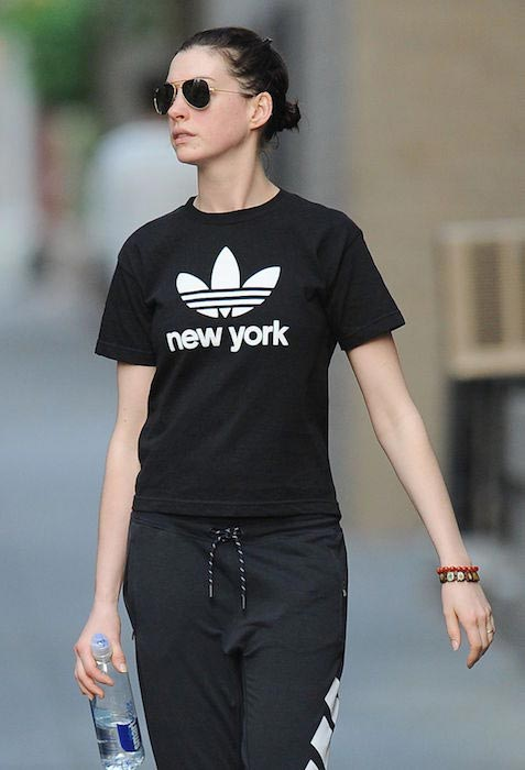 Anne Hathaway during a workout session in New York on May 19, 2015