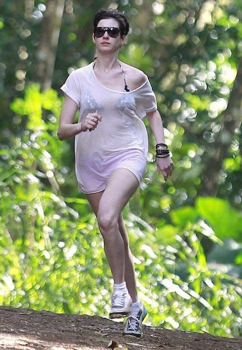 Anne Hathaway running