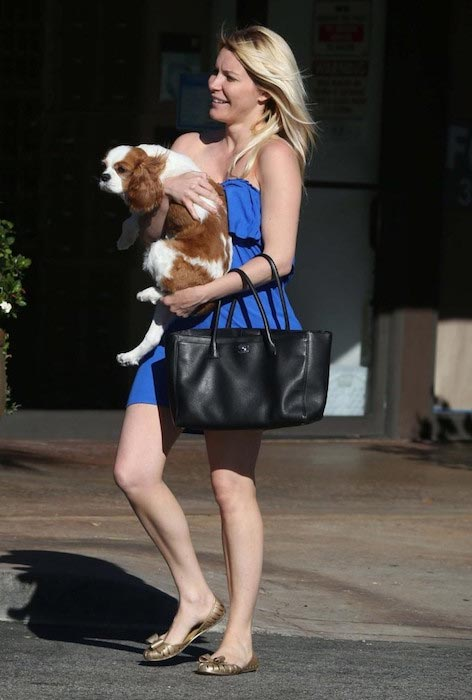 Crystal Harris with her dog Charlie in LA in August 2013