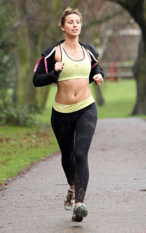 Ferne McCann in a crop top out for jogging