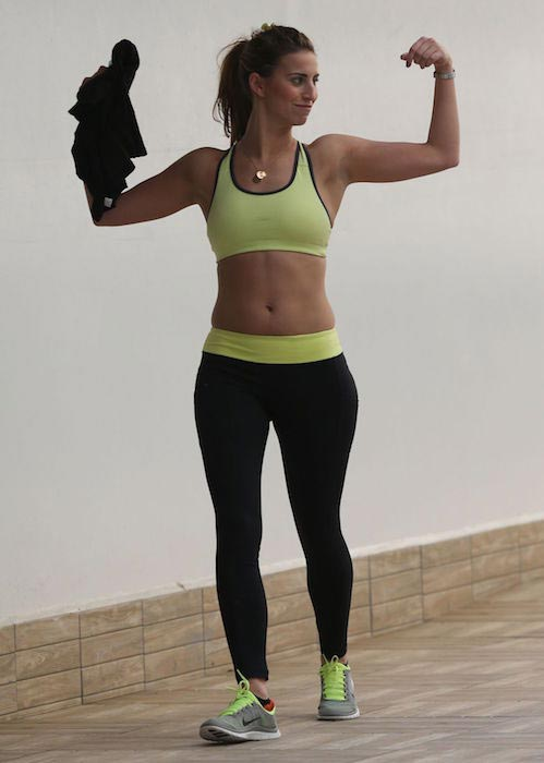 Ferne McCann in tights at a gym in Tenerife