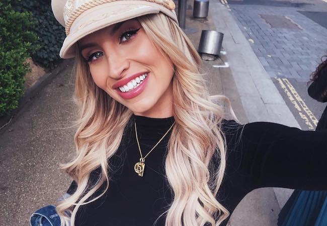 Ferne McCann smiling in a April 2018 selfie wearing Lack of Color Hats