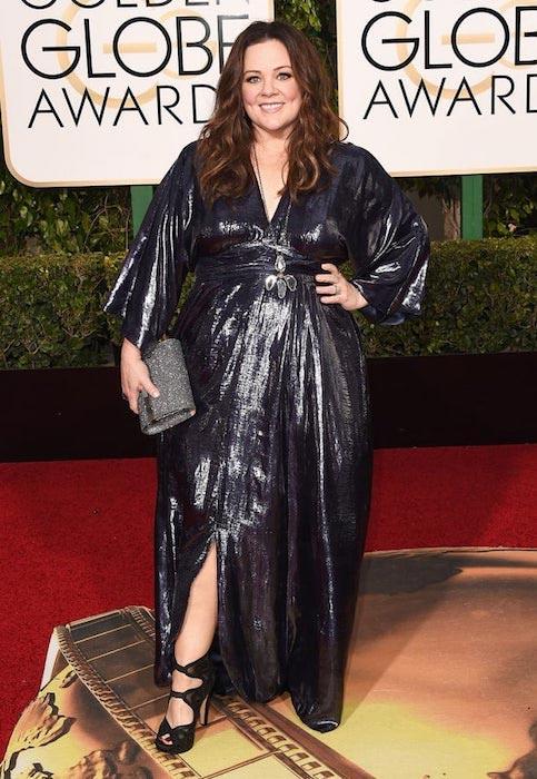Melissa McCarthy wears her own design to Golden Globes 2016