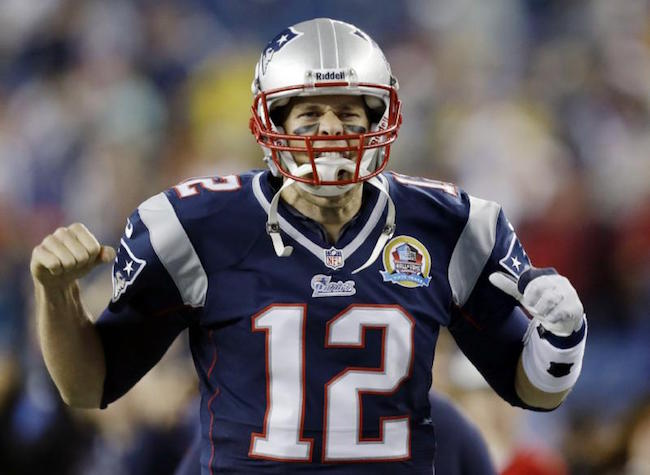 New England Patriots quarterback, Tom Brady on the field
