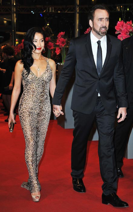 Nicolas Cage and Alice Kim at Berlinale International Film Festival in February 2013