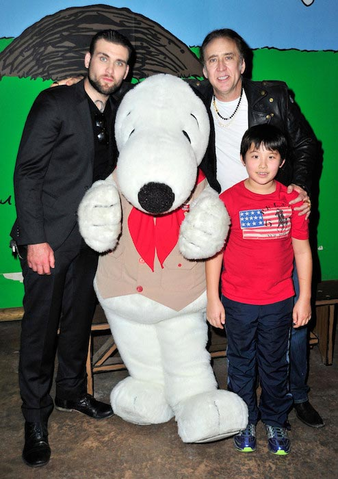 Nicolas Cage at Knott's Berry Farm with sons Weston (Left) and Kal-El on September 12, 2015