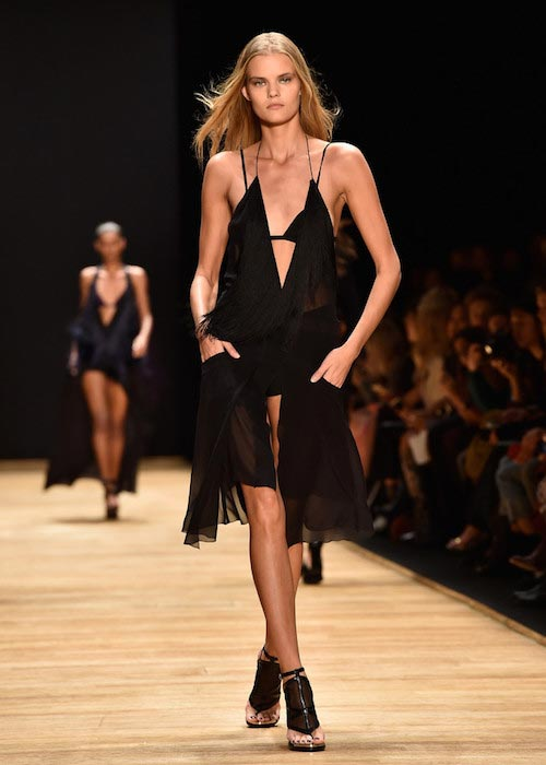 Nina Agdal at Paris Fashion Week Runway representing Women's wear Spring / Summer 2016 Collection