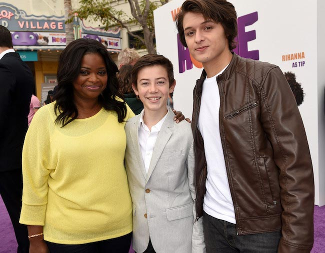 Octavia Spencer, actors Griffin Gluck and Nolan Sotillo during the premiere of Home in March 2015