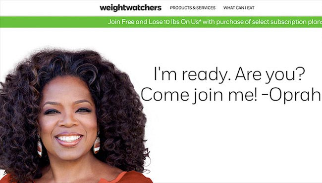 Oprah Winfrey at Weight Watchers website