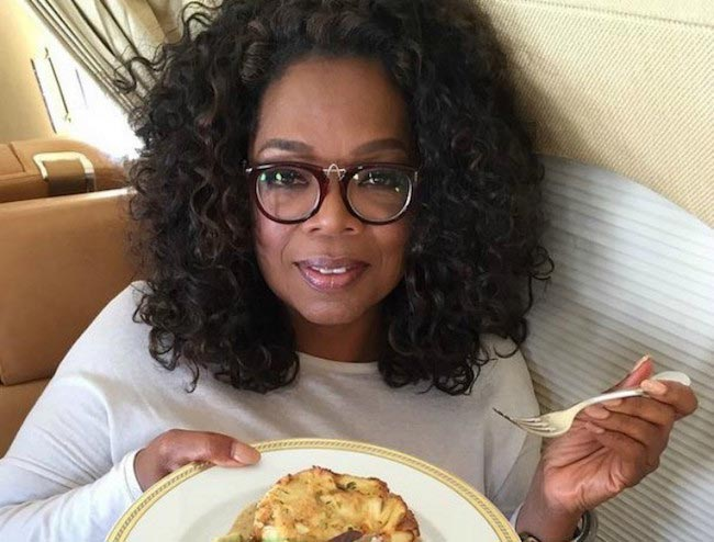 Oprah Winfrey eating food