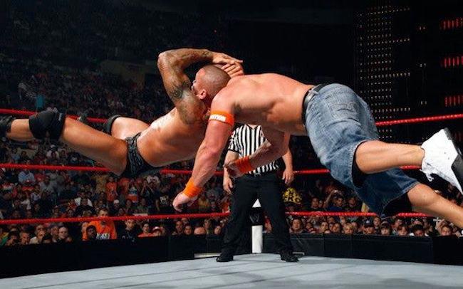 Randy Orton performing his signature RKO move
