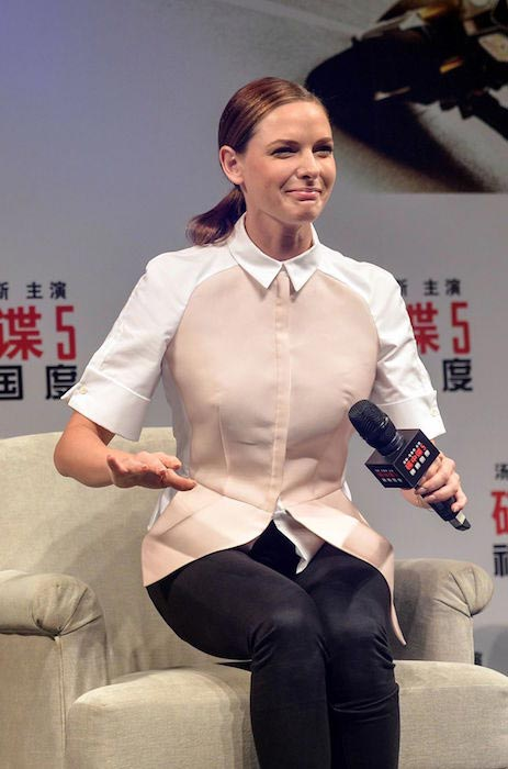 "Rebecca Ferguson during ""Mission: Impossible - Rogue Nation"" press conference in Shanghai in September 2015"